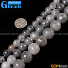 Natural Grey Gray Cloudy Quartz Gemstone Faceted Round Beads Free Shipping 15""