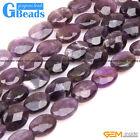 Natural Purple Amethyst Faceted Oval Beads For Jewelry Making Free Shipping 15""