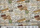 TRAVEL Wish you were here : 100% cotton fabric : sold by the 1/2 metre