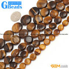 Natural Tiger's Eye Gemstone Coin Beads For Jewelry Making Free Shipping 15""