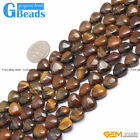 """Natural Heart Shape Tiger's Eye Gemstone Beads For Jewelry Making Strand 15"""""""