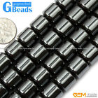 """Natural Black Hematite Drum Barrel Beads For Jewelry Making Free Shipping 15"""""""