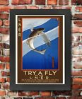 TX58 Vintage 1930's LNER Try A Fly Fishing Railway Framed Travel Poster A3/A4