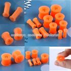 "6g-1/2"" Star Orange Flexible Silicone Flared Ear Tunnels Plugs Stretcher Gauges"