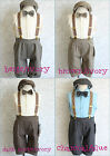 Infant Baby toddler boy european style set with tie & suspender 12m 18m 2T 3T 4T