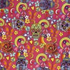 Floral Skulls Peace And Swirls Crafting Fabric - Cerise  100% Cotton