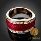 ARINNA ruby red amber irregular shape finger ring gold GP 18K Austrian crystals