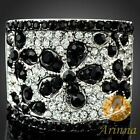 Arinna rich honour black petal white gold GP Austrian Crystals finger lord Ring