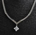 18K GP White Gold Plated Swarovski Crystal Elegant Engagement Wedding Necklace