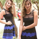 Sexy Color Matching Sleeveless Stripes Cotton Blend Dinner Party Mini Dresses