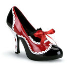 """4"""" Red Black White Queen of Hearts Pinup Poker Costume Shoes Heels size 6 7 8 9"""