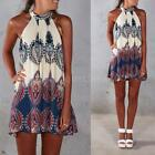 Womens Summer Sexy Sleeveless Floral Halter Beach Cocktail Loose Mini Dress S-XL