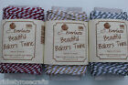 METALLIC BAKERS TWINE 20m SPOOL CANDY STRIPED Gold Silver Ruby Wedding Christmas