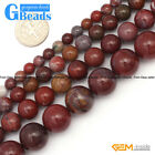 Red Flower Agate Gemstone Round Beads For Jewelry Making Free Shipping 15""
