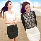 Womens Stretch Ladies Wiggle Pencil Tube Bodycon Plain Office Lace Skirt New