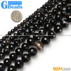 Natural Faceted Gemstone Black Stripe Agate Round Beads For Jewelry Making 15""