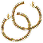 Ethnic Indian Bollywood Jewelry Set Pearl Polki Beads Anklet Set ABAN0244MG