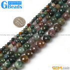 Natural Indian Agate Faceted Round Beads For Jewelry Making Free Shipping 15""