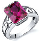 Large Radiant Cut 4.25 cts Ruby Solitaire Ring Sterling Silver Sizes 5 to 9