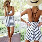 New Fashion Female Summer Cool Black And White Stripes Loose V-neck Halter Dress