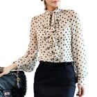 Womens Long Sleeve Ladies Blouse Spotty Tops Rockabilly Shirt Polka dot Top Size