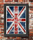 KC29 Framed Vintage Style Union Jack Keep Calm Play Drums Funny Poster A3/A4