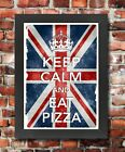 KC41 Framed Vintage Style Union Jack Keep Calm Eat Pizza Funny Poster A3/A4
