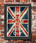 KCV38 Framed Vintage Style Union Jack Keep Calm And Keep Out Funny Poster A3/A4