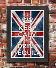 KC9 Framed Vintage Style Union Jack Keep Calm Drink Tequila Funny Poster A3/A4