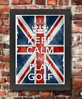 KC15 Framed Vintage Style Union Jack Keep Calm And Play Golf Funny Poster A3/A4