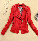 2014 New Women Lady PU Leather Coat Short Motorcycle Jacket Spring Clothing