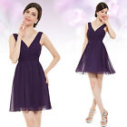 Ever Pretty Lady's Purple V Neck Sleeveless Short Bridesmaid Party Dress 05264