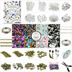 Large Jewellery Making Starter Kit Instructions Tools Silver Findings Beads Mix