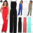 Women Ladies All In One Casual Cami High Neck Wide Leg Palazzo Playsuit Jumpsuit