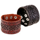 New Punk Men Women Wide Genuine Leather Bracelet Cuff Wristband Bangle Jewelry