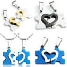 Mens Womens Couple Stainless Steel Love Heart Jigsaw Puzzle Pendant Necklace Set