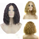 Fashion Short Corn Curly Wavy Hair Costume Party Women Blonde Full Wig Part Bang