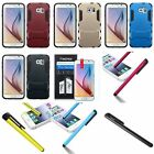 For Samsung Galaxy S6 Stand Hybrid Hard Soft Protective Case Cover+Film+Stylus