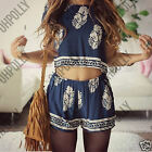 Womens Summer Blue White Cropped Top Shorts Co-Ord Two Piece Paisley Set Dress