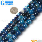 Gemstone Stripe Blue Agate Round Beads For Jewelry Making Free Shipping 15""