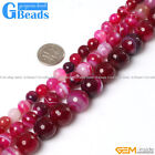 Gemstone Magenta Stripe Agate Faceted Round Beads For Jewelry Making Strand 15""