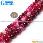 Round Faceted Gemstone Banded Plum Agate DIY Crafts Making Beads Strand 15""