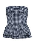 Abercrombie & Fitch Womens Strapless Top Navy Blue Check NWT