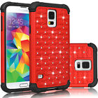 Bling Crystal Rugged Rubber Matte Hybrid Case Cover For Samsung Galaxy S5 i9600