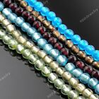 1 Strand Fashion Round Lampwork Glass Flat Loose Beads Womens Jewelry DIY 10mm