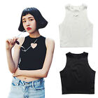 Women Summer Fashion Heart Cut Crop Top Short Cami Tank Tops Sexy Party Club Tee