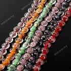 1 Strand Oblate Lampwork Glass Flower Loose Beads Jewelry Making DIY Gift 15mm
