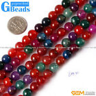 """Round Gemstone Mixed Color Crackle Agate Jewelry Making Beads Strand 15"""""""