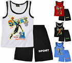 Boys Printed Basketball Vest Top And Short Set Kids Sport Kit New Age 4-5 Years