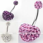 Punk 14G Steel Czech Crystal Heart Navel Belly Button Ring Curved Bar Piercing